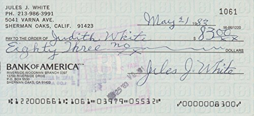 JULES WHITE (The Birth of a Nation, The Three Stooges) signed bank check