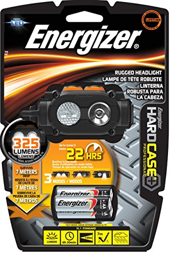 Hard Case Professional Led (Energizer Hard Case Professional Rugged 3 LED Headlight, Batteries Included, Black/Gray)