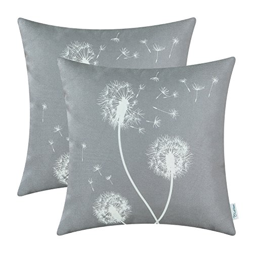 - CaliTime Pack of 2 Canvas Throw Pillow Covers Cases for Couch Sofa Home Decor Solid Dandelion Print 18 X 18 Inches Medium Grey