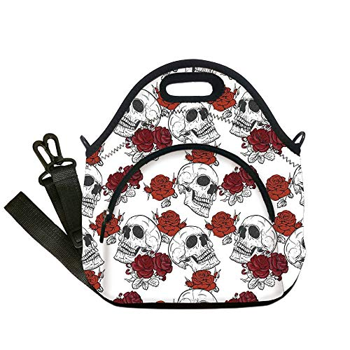 Insulated Lunch Bag,Neoprene Lunch Tote Bags,Skull Decorations,Retro Gothic Dead Skeleton Figures with Rose Halloween Spooky Trippy Romantic,Grey,for Adults and children