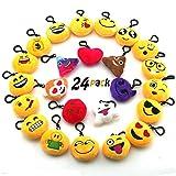 JACHAM Novelty Toys Emoji Keychain, Emotion Plush Pillow,Kids Party Supplies Favors,Keychain Decorations 2.4'' Set of 24 Pack