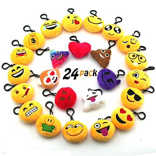 JACHAM Novelty Toys Emoji Keychain, Emotion Plush Pillow,Kids Party Supplies Favors,Keychain Decorations 2.4