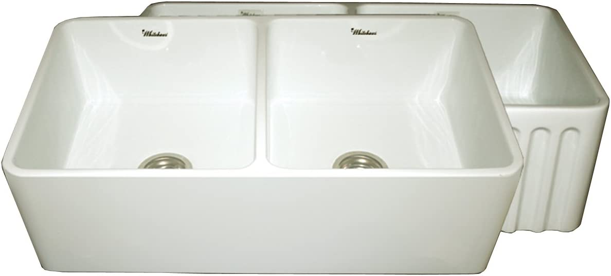Whitehaus WHFLPLN3318-BI Farmhaus 33-Inch Reversible Series Double Bowl Fireclay Apron Front Sink, Biscuit