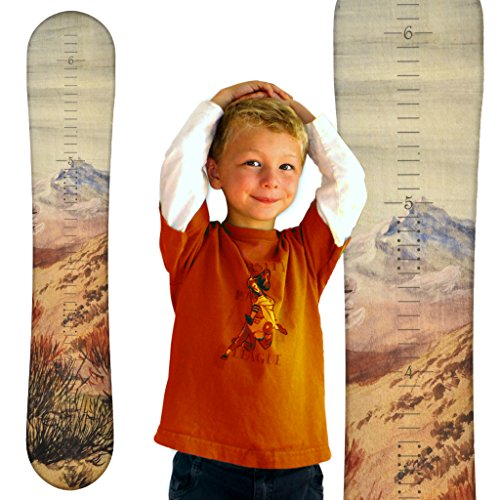Growth Chart Art | Wooden Snowboard Height Chart for Kids, Boys, Girls for Measuring Height of Kids, Nursery Wall Decor | Baby Snowboard | Mountain by Growth Chart Art