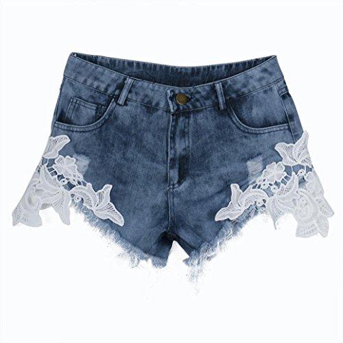 Moda Azul Pantalón Cortos Legging Casual Alta Vaqueros Mujer Cintura Jeans Suelto Rotos Encaje Pantalones Originals LuckyGirls wZzqAz