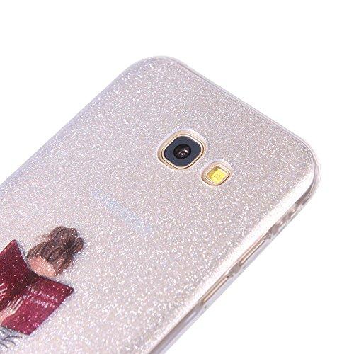 Ecoway IMD Funda para Samsung Galaxy A5(2015), scintillement case Antideslizante Suave Parachoques Resistente a los arañazos Contraportada Funda de silicona Parachoques Carcasa Funda Bumper - Sueños Chica de arte