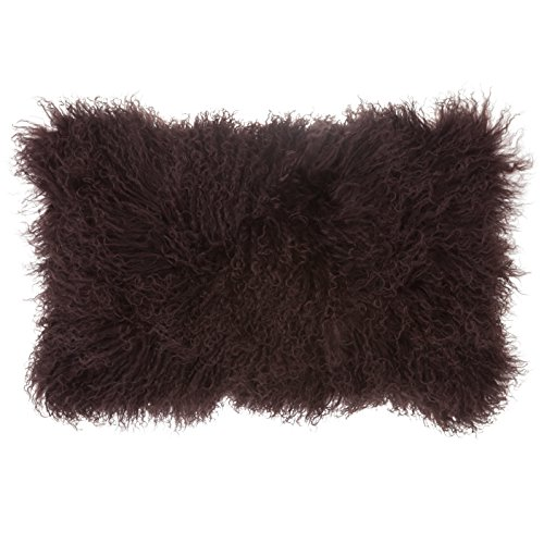 SLPR Mongolian Lamb Fur Throw Pillow Cover (12'' x 20'', Dark Brown) | Real Fur Decorative Cushion Cover Pillow Case for Living Room Bedroom - 20' Pillow