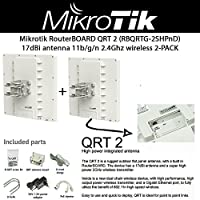 Mikrotik QRT-2 (RBQRTG-2SHPnD) outdoor flat panel antenna, with a built in RouterBOARD, the device has a 17dBi antenna and a super high power 802.11n 2.4Ghz wireless transmitter 2PACK