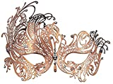 Glossy Filigree Metal Mask Venetian Swan Masquerade Mask with Rhinestones (Rose Gold)