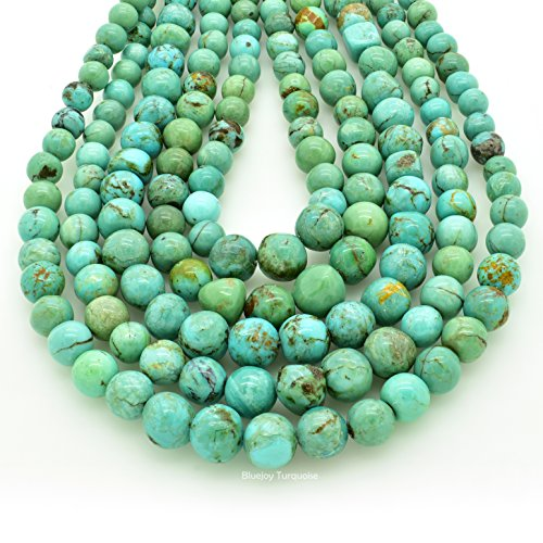 Bluejoy Genuine Natural American Turquoise Free-Form Graduated Round Nugget Bead 16 inch Strand for Jewelry Making (4-8mm) ()