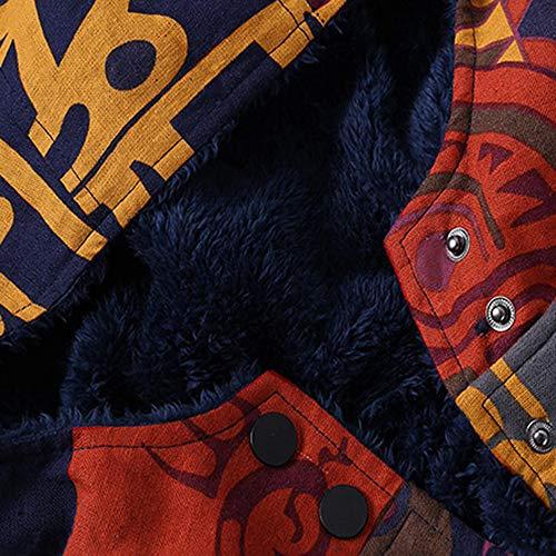 Ropa de cálidos Multicolor Botón mujer Caliente Cerrojo Bolsillos Invierno Algodón Estampados Gruesas Abrigo de Outwear Capa Mujer Abrigos de con Invierno y Lino algodón Mantener Capucha Suelto más de POLP pqwPXP