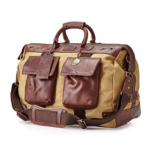 luxury mens travel duffel bag Source · Amazon com Will Leather Goods Men s  Canvas and Leather Traveler 27aea901914df
