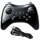 Poulep Wireless Controller Compatible With Nintendo Wii U Pro Console - Bluetooth Gamepad Joystick Dual Analog With USB Charging Cable(Black): more info