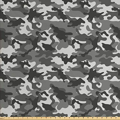 Ambesonne Camouflage Fabric by The Yard, Monochrome Attire Pattern Camouflage Inside Vegetation Fashion Design Print, Decorative Fabric for Upholstery and Home Accents, 1 Yard, Grey Coconut