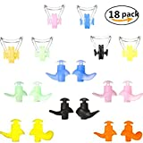 QICI Waterproof Silicone Swimming Nose Clips and Earplugs,Comfortable Soft Latex Plugs for Kids and Adults Multi-color 18 pack