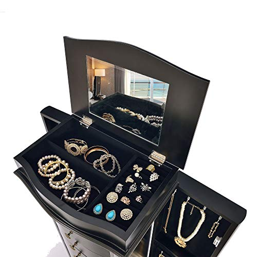 Elpitha Jewelry Cabinet With Mirror Jewelry Armoire Cambered Front