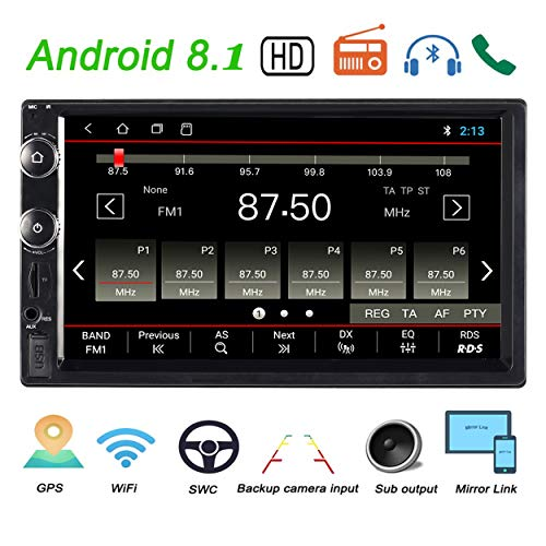 Double Din Car Stereo Android 8.1 System 80GB ROM FM Radio Compatible with 7 Inch HD IPS Touchscreen GPS Navigation Bluetooth Mirror Link Backup Camera USB SD
