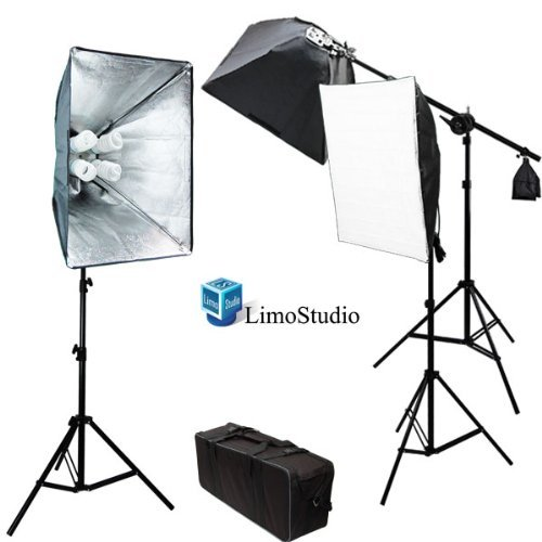 LimoStudio Photo Video Studio 2400 Watt Softbox Continuous Light Kit with Overhead Head Light Boom Kit 2 x Softbox Light Kit 1 x Softbox Light Kit on Boom Kit All Light Boxes Come with 4 x 45 Watt 6500K CFL Total 12 Bulbs Carrying Case AGG891