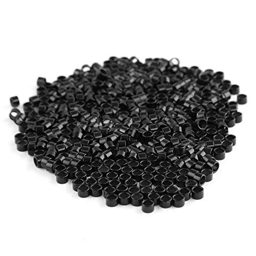 Neitsi 4.5mm Micro Rings Links Beads Linkies for I Bonded Tipped Hair Extensions 4527 (500pcs, Black)