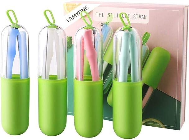 4 paquets de pailles r/éutilisables et pliables en silicone avec brosse de nettoyage Pailles en silicone r/éutilisables