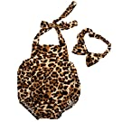 Baby Girls Halter Leopard Printed one-piece+Hairband Bodysuits Clothes Outfit , Leopard, 0-6 Months