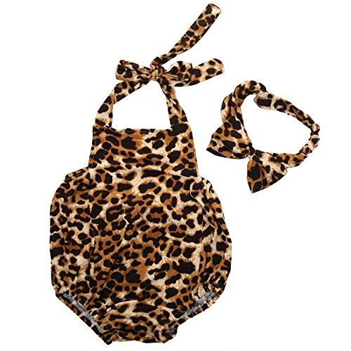 Baby Girls Halter Leopard Printed one-piece+Hairband Bodysuits Clothes Outfit , Leopard, 12-18 (Leopard Jumper)