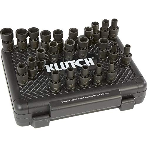 - Klutch Universal Joint Impact Socket Set - 24-Pc, 1/2in. Drive, SAE/Metric