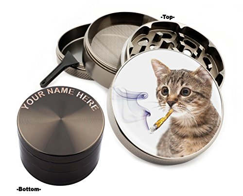 Smoking Cat - Smoking Cat Design Large Size Zinc Grinder With Your Name FREE-Gift Pack # ZG121415-14