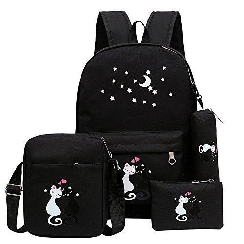 - Fanci 4Pcs Cute Cat Prints Canvas School Rucksack Backpack Set for Girls Elementary Bookbag