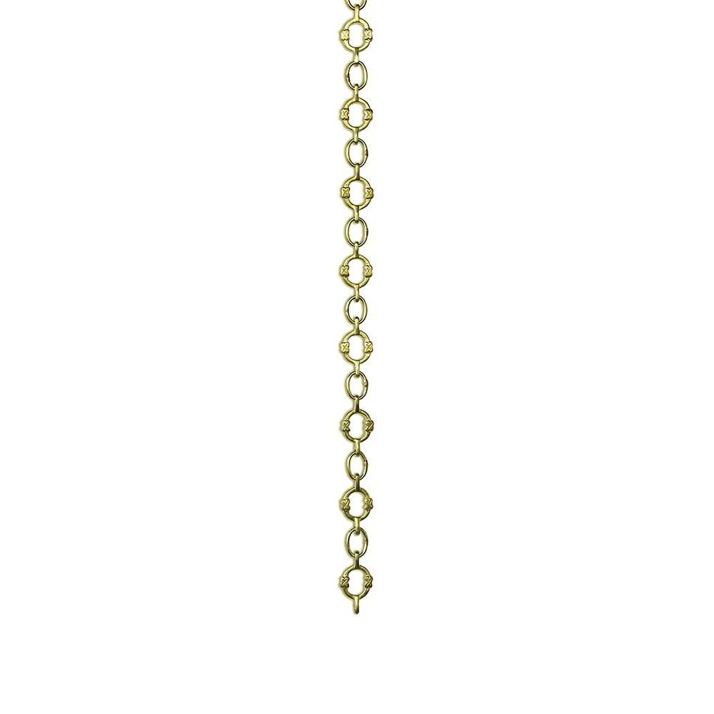 RCH Hardware CH-17-PB-3 Decorative Polished Solid Brass Chain for Hanging, Lighting - Small Round Unwelded Links with X Design (3 ft/1 Yard)