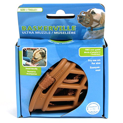 Image of Baskerville Ultra Basket Dog Muzzle – The Company of Animals - Adjustable and Comfortable Secure Fit - Durable Lightweight Rubber - Stops Biting, safe retraining of aggressive dogs- Size-1 Tan