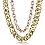 Hanpabum 2 PCS Men Gold Plated Big Chunky Necklace Hip Hop Jewelry 80s 90s Personalized Punk Style Chain NecklaceCostume Jewelry