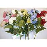 Pack 12 Stems Velvet Silk Flower Pansy Sprays Mixed Colours Lot