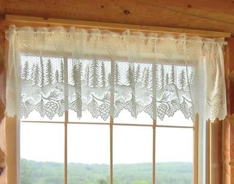 Pinecone Lace Lodge Valance   Cabin Window Accessories