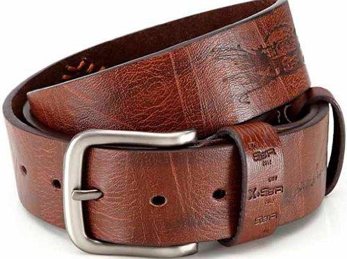"""akzendo-collection Men's 3.6 Cm Designer Pu Jean Belt XXL 45-48"""" Brown"""