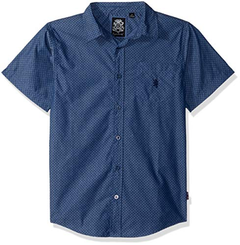 Woven Boys Shirt - English Laundry Boys' Big Short Sleeve Printed Woven Shirt, Blue, 16