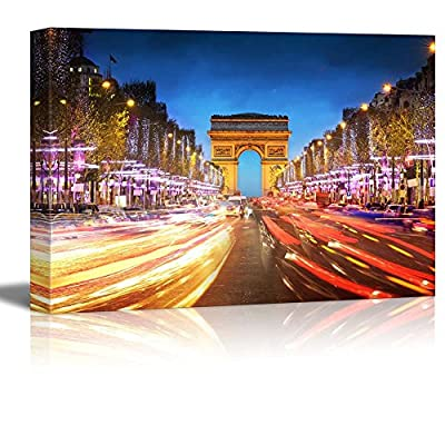 Arc De Triomphe Paris City at Sunset Arch of Triumph and Champs Elysees, Created By a Professional Artist, Marvelous Picture