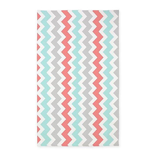 CafePress Coral Aqua Grey Chevron Pattern 3'X5' Decorative Area Rug, Fabric Throw -