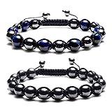 Top Plaza Men's Women's Reiki Healing Energy Natural Tiger Eye Stone Magnetic Hematite Therapy Beads Macrame Adjustable Braided Link Bracelet(Blue Tiger Eye + Magnetic Hematite Beads)