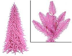 By Vickerman 7.5' Pre-Lit Slim Pink Ashley Spruce Christmas...