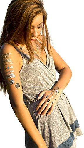 Tatuaje Oro Plata Negro Metálico egipcio joyas tatuaje temporal ...