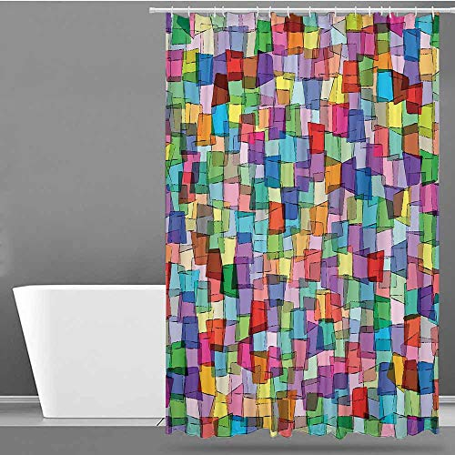 VIVIDX Travel Shower Curtain,Abstract,Mosaic Inspired Tile Pattern with Colorful Squares Cubes Energetic Artistic Design,Art Print Polyester,W60x72L Multicolor