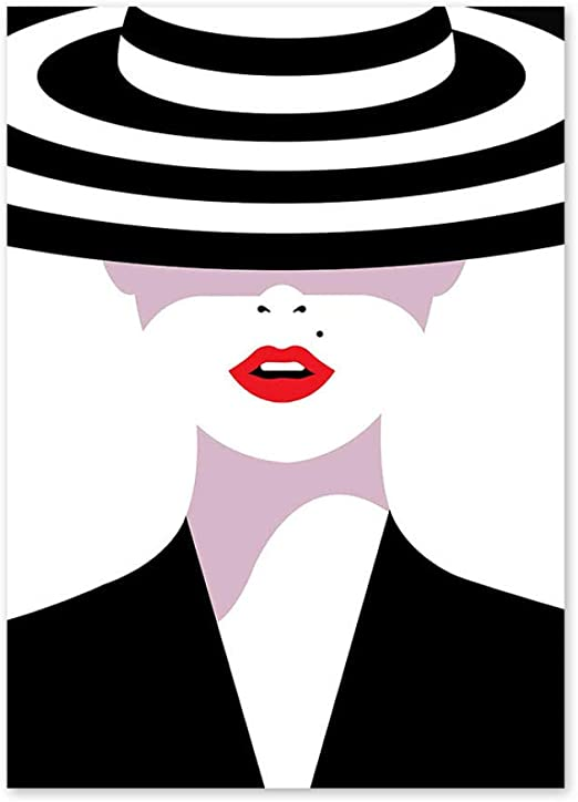 Fashion Girl Silhouette Sexy Red Lips Wall Art Canvas Painting Nordic Posters And Prints Wall Pictures For Living Room Home Decor 40x60cm No Frame Amazon Co Uk Kitchen Home