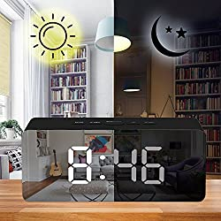 Alarm Clock, LED Mirror Display with Dimmer, Time, Alarm,Temperature with USB Charging Port