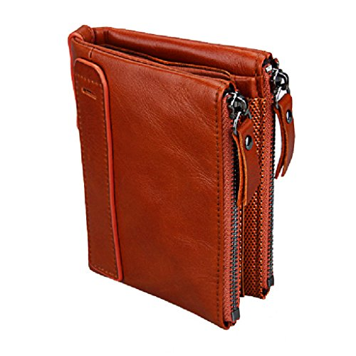 Leather Double Billfold (AlALEI Mens Leather Wallet, Double Zipper Bifold Short Pocket with RFID Blocking (Red brown))