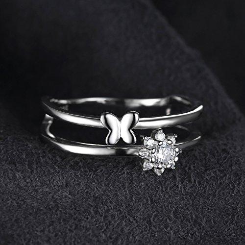 JewelryPalace Jolie Bague Femme Deux Anneaux Ensemble Papillon en Zircon Cubique de Synthèse CZ en Argent Sterling 925