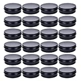 TMO 4 oz. Aluminum Tins Container 24 Pack Round Screw Lid Containers Jars Metal Storage Tin Jars Aluminum Tin Cans Food Tins Travel Tins,Black