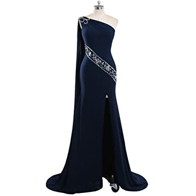 One Shoulder Navy Blue Long Prom Dresses 2018 For Women (2, Navy Blue)