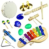Percussion Set Cahaya 10PCS musical instruments and Enlighten Toys Kit Tambourine Bells Maracas Glockenspiel Castanets with Small Bag for Baby Children Kids