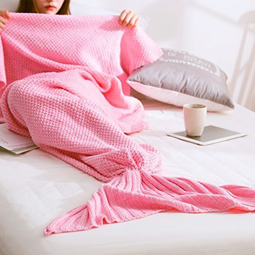 Mermaid Tail Blanket Handmade Soft Sleeping Bag Crochet Knitting Living Room Quilt All Seasons Sofa Snuggle Rug Best Fashion Birthday Christmas Gift (205x95cm/80x38in) (Creative Cute Women Halloween Costumes)